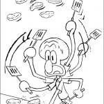 Dibujo para colorear de Calamardo y Bob Esponja