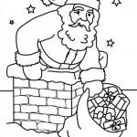 Papa Noel bajando por la chimenea