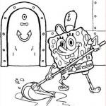Bob Esponja usando el trapeador
