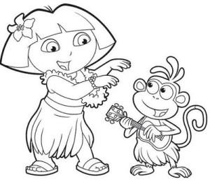Gracioso dibujo para colorear de Dora la Exploradora