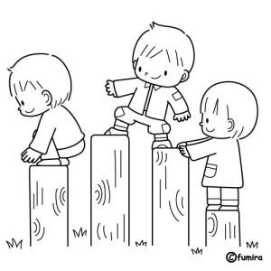 Dibujo para colorear de niños jugando