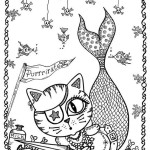 Dibujo para colorear de un gato sirena