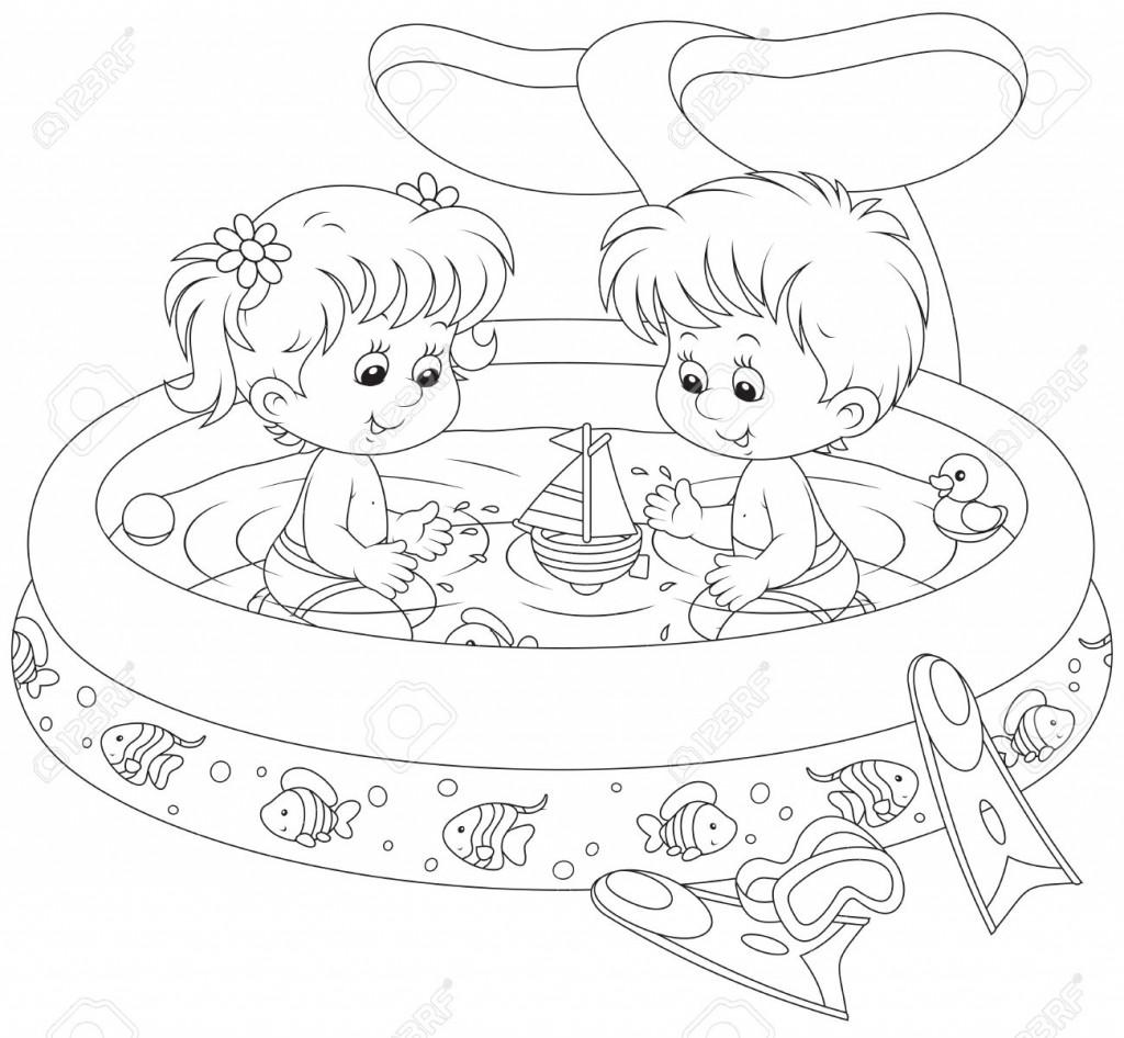 dibujo-niños-en-una-piscina