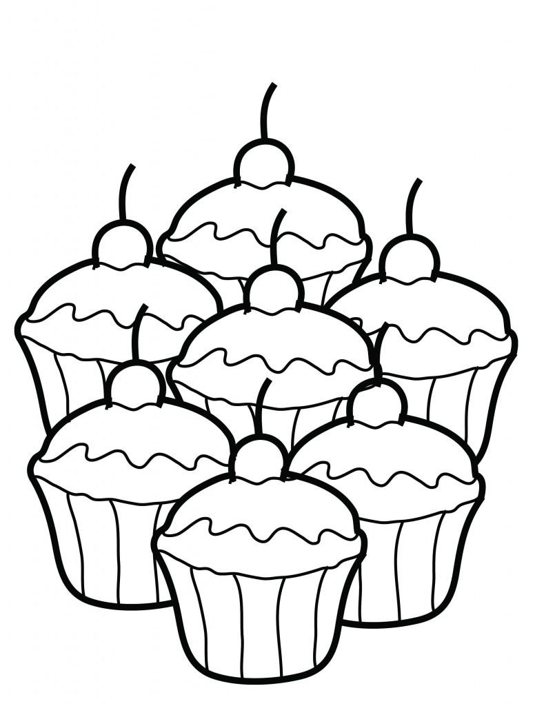 Dibujo para colorear de unos pasteles dibujos de comida for Dibujo de una piedra para colorear