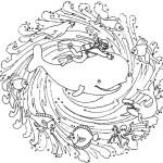 Dibujo para colorear de un submarinista y una ballena
