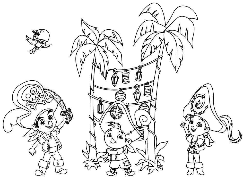 Dibujos para Colorear de Jake el Pirata del País de nunca jamas