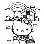 Dibujo para colorear hello kitty de camping