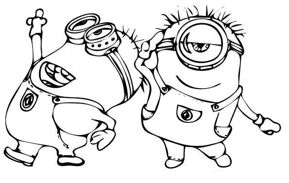 Dibujo para colorear minions bailando