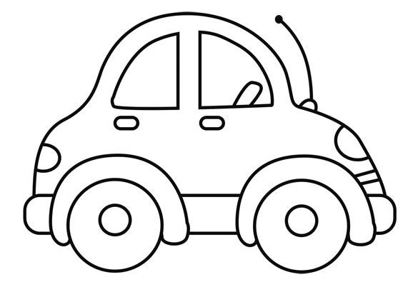 Dibujo para colorear coche peque o con antena - Empapelar coche para pintar ...