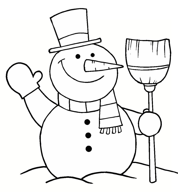 Dibujo para colorear muñeco de nieve con su escoba