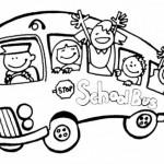 Dibujo para colorear autobús escolar de niños