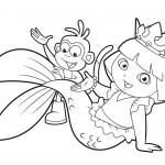 Dibujo para colorear dora sirena y su mono