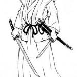 Dibujo para colorear de un samurai