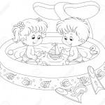 Dibujo para colorear de niños en una piscina